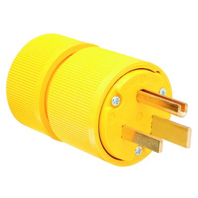 Pass & Seymour Inc D0651 Pass & Seymour D0651 Grounding Gator Grip Plug; 50 Amp, 250 Volt, 2-Pole, 3-Wire, NEMA 6-50P, Yellow