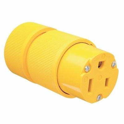 Pass & Seymour Inc D0653 Pass & Seymour D0653 Gator Grip Grounding Straight Blade Connector; 50 Amp, 250 Volt AC, 2-Pole, 3-Wire, NEMA 6-50R, Yellow