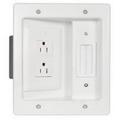 Pass & Seymour Inc HT2102-WH-V1 On-Q HT2102-WH-V1 Recessed Wallplate TV Connection Kit; 125 Volt AC, In-Wall Mount, White