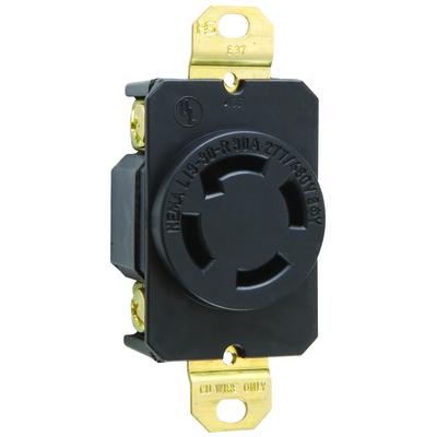 Pass & Seymour Inc L1930R Pass & Seymour L1930-R Turnlok Locking Single Receptacle; 277/480 Volt AC, 4-Pole, 10-14 AWG, Thermoplastic, Black/White