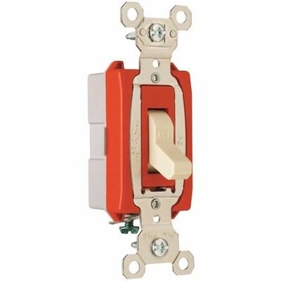 Pass & Seymour Inc PS20AC1I Pass & Seymour PS20AC1-I Extra Heavy Duty Grade Toggle Switch; 1-Pole, 120/277 Volt AC, 20 Amp, Ivory