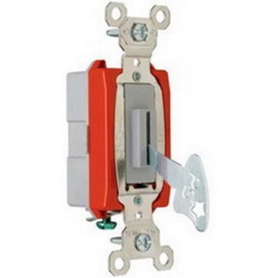 Pass & Seymour Inc PS20AC1L Pass & Seymour PS20AC1-L Extra Heavy Duty Grade Locking Toggle Switch; 1-Pole, 120/277 Volt AC, 20 Amp, Gray