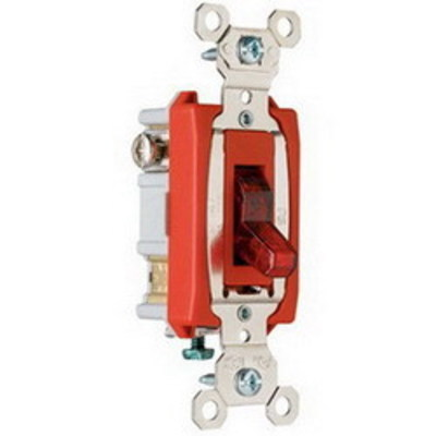 Pass & Seymour Inc PS20AC1RPL Pass & Seymour PS20AC1-RPL Extra Heavy Duty Grade Lighted Pilot Toggle Switch; 1-Pole, 120/277 Volt AC, 20 Amp, Red