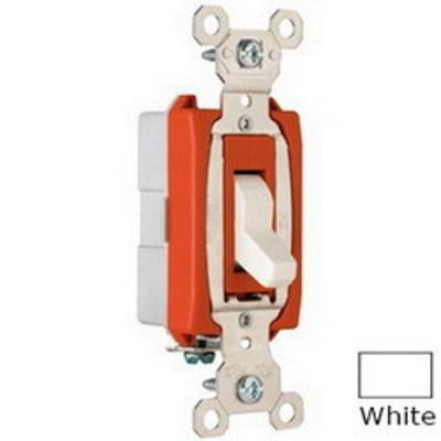 Pass & Seymour Inc PS20AC1W Pass & Seymour PS20AC1-W Extra Heavy Duty Grade Toggle Switch; 1-Pole, 120/277 Volt AC, 20 Amp, White