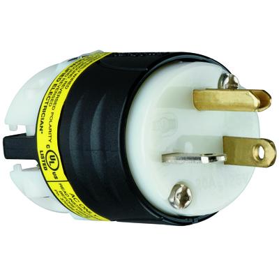 Pass & Seymour Inc PS5366XGCM Pass & Seymour PS5366-XGCM EHU-GCM Series Straight Blade GCM Plug; 2-Pole, 3-Wire, 20 Amp, 125 Volt, NEMA 5-20P, Cord Mount, Black and White