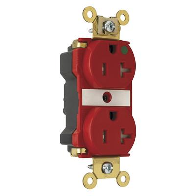 Pass & Seymour Inc PTTR63HRED Pass & Seymour PTTR63-HRED PlugTail™ Hospital Grade Duplex Receptacle; 20 Amp, 125 Volt AC, 2-Pole, 3-Wire, NEMA 5-20R NEMA, Wall Mount, Red