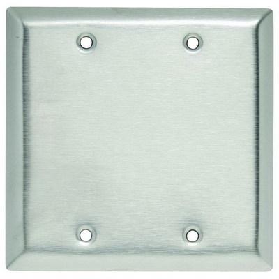 Pass & Seymour Inc SL23 Pass & Seymour SL23 2-Gang Standard-Size Mounted Blank Wallplate; Box Mount, 430 Stainless Steel, Silver