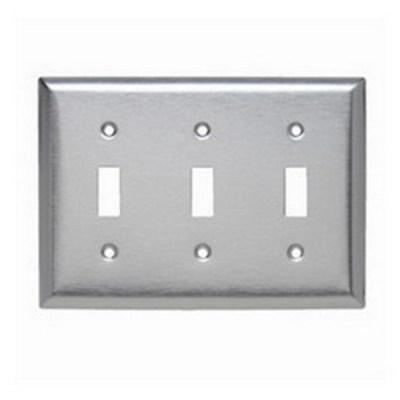 Pass & Seymour Inc SL3 Pass & Seymour SL3 3-Gang Standard-Size Toggle Switch Wallplate; Wall Mount, Stainless Steel, Silver