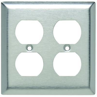Pass & Seymour Inc SL82 Pass & Seymour SL82 2-Gang Duplex Receptacle Wallplate; Wall Mount, Stainless Steel, Silver