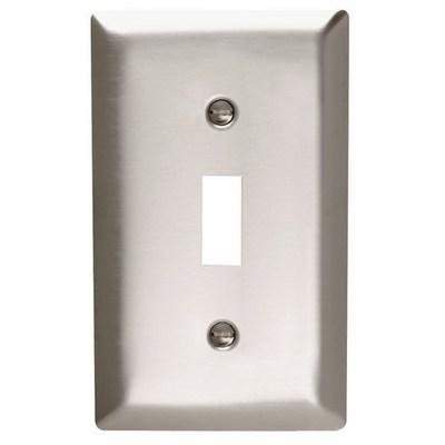 Pass & Seymour Inc SS1 Pass & Seymour SS1 1-Gang Standard-Size Toggle Switch Wallplate; Wall Mount, Stainless Steel, Silver