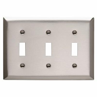 Pass & Seymour Inc SS3 Pass & Seymour SS3 3-Gang Standard-Size Toggle Switch Wallplate; Wall Mount, Stainless Steel, Silver