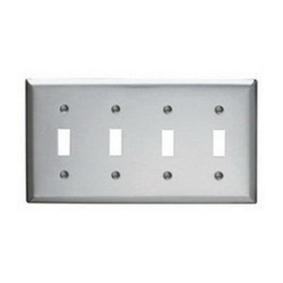 Pass & Seymour Inc SS4 Pass & Seymour SS4 4-Gang Standard-Size Toggle Switch Wallplate; Wall Mount, Stainless Steel, Silver