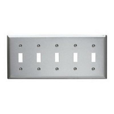 Pass & Seymour Inc SS5 Pass & Seymour SS5 5-Gang Standard-Size Toggle Switch Wallplate; Wall Mount, Stainless Steel, Silver