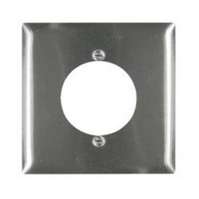 Pass & Seymour Inc SS702 Pass & Seymour SS702 Standard Size 2-Gang Single Receptacle Plate; Wall Mount, 302 Stainless Steel