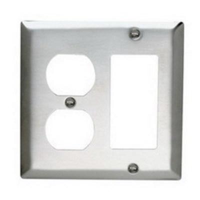 Pass & Seymour Inc SS826 Pass & Seymour SS826 2-Gang Standard-Size Combination Wallplate; Wall Mount, Stainless Steel, Silver