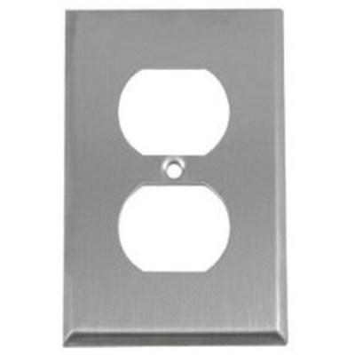 Pass & Seymour Inc SS8 Pass & Seymour SS8 1-Gang Duplex Receptacle Wallplate; Wall Mount, Stainless Steel, Silver