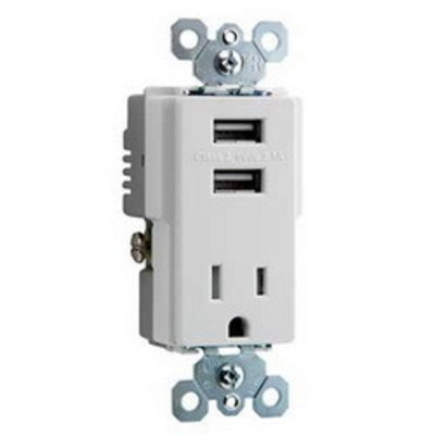 Pass & Seymour Inc TM8-USBWCC6 Pass & Seymour TM8-USBWCC6 Decorator Combination of 2 USB Chargers with Receptacle; 125 Volt/5 Volt DC, 15 Amp Receptacle, 2100 Mili-Amp USB, White