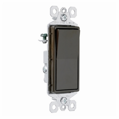 Pass & Seymour Inc TM873 Pass & Seymour TM873 TradeMaster® Paddle 3-Way Decorator Switch; 120/277 Volt AC, 15 Amp, Brown