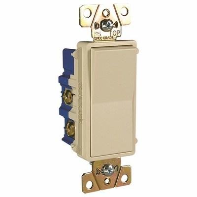 Pass & Seymour Inc TM874LA Pass & Seymour TM874-LA TradeMaster® 4-Way Decorator Switch; 120/277 Volt AC, 15 Amp, Light Almond