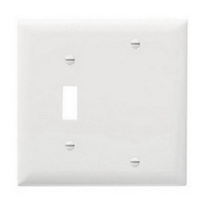 Pass & Seymour Inc TP113W Pass & Seymour TP113-W Trademaster® 2-Gang Standard-Size Combination Wallplate; Box Mount, Thermoplastic Nylon, White