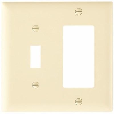 Pass & Seymour Inc TP126LA Pass & Seymour TP126-LA Trademaster® 2-Gang Standard-Size Combination Wallplate; Wall Mount, Thermoplastic Nylon, Light Almond