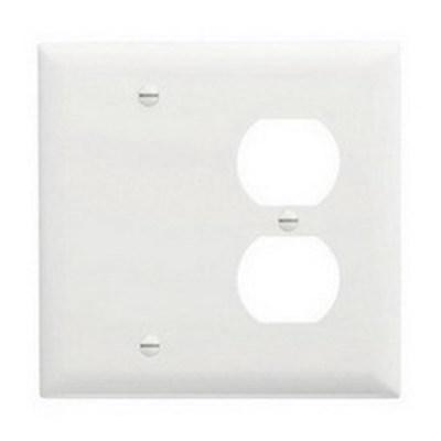 Pass & Seymour Inc TP138W Pass & Seymour TP138-W Trademaster® 2-Gang Standard-SizeCombination Wallplate; Wall Mount, Thermoplastic Nylon, White