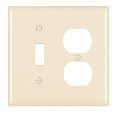 Pass & Seymour Inc TP18LA Pass & Seymour TP18-LA Trademaster® 2-Gang Standard-Size Combination Wallplate; Wall Mount, Thermoplastic Nylon, Light Almond