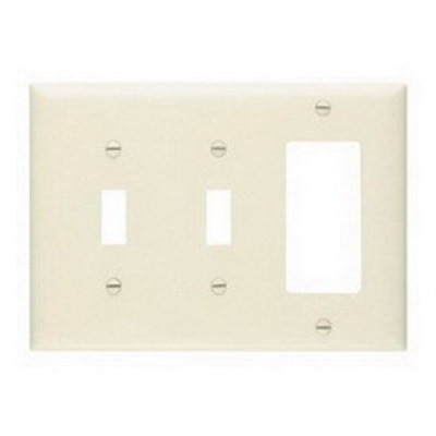 Pass & Seymour Inc TP226LA Pass & Seymour TP226-LA Trademaster® 3-Gang Standard-Size Combination Wallplate; Wall Mount, Thermoplastic Nylon, Light Almond