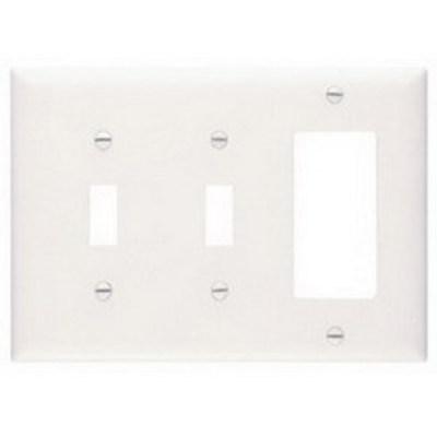 Pass & Seymour Inc TP226W Pass & Seymour TP226-W Trademaster® 3-Gang Standard-Size Combination Wallplate; Wall Mount, Thermoplastic Nylon, White