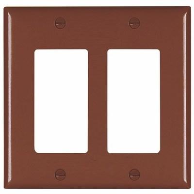 Pass & Seymour Inc TP262 Pass & Seymour TP262 TradeMaster® 2-Gang Standard-Size GFCI Decorator Wallplate; Wall Mount, Nylon, Brown