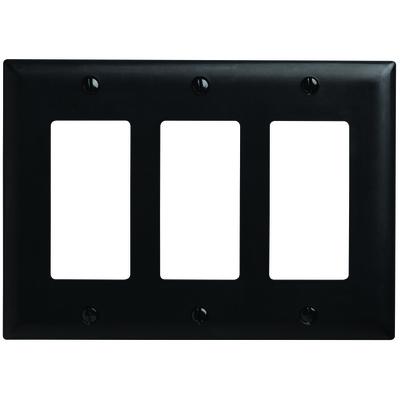 Pass & Seymour Inc TP263BK Pass & Seymour TP263-BK TradeMaster® 3-Gang Standard-Size GFCI Decorator Wallplate; Wall Mount, Nylon, Black
