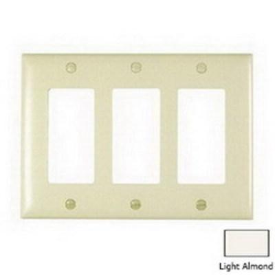 Pass & Seymour Inc TP263LA Pass & Seymour TP263-LA TradeMaster® 3-Gang Standard-Size GFCI Decorator Wallplate; Wall Mount, Nylon, Light Almond