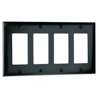 Pass & Seymour Inc TP264BK Pass & Seymour TP264-BK TradeMaster® 4-Gang Standard-Size GFCI Decorator Wallplate; Wall Mount, Nylon, Black