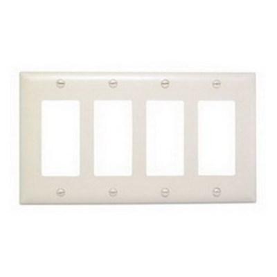 Pass & Seymour Inc TP264LA Pass & Seymour TP264-LA TradeMaster® 4-Gang Standard-Size GFCI Decorator Wallplate; Wall Mount, Nylon, Light Almond