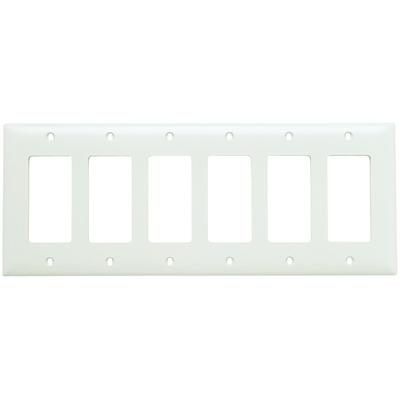 Pass & Seymour Inc TP266W Pass & Seymour TP266-W TradeMaster® 6-Gang Standard-Size GFCI Decorator Wallplate; Wall Mount, Nylon, White