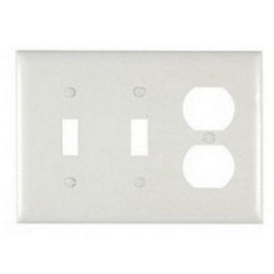 Pass & Seymour Inc TP28W Pass & Seymour TP28-W Trademaster® 3-Gang Standard-Size Combination Wallplate; Wall Mount, Thermoplastic Nylon, White