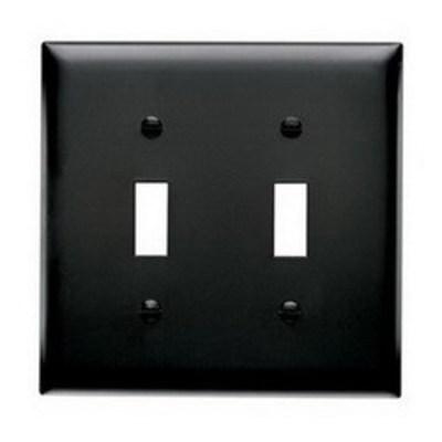 Pass & Seymour Inc TP2BK Pass & Seymour TP2-BK TradeMaster® 2-Gang Standard-Size Toggle Switch Wallplate; Wall Mount, Thermoplastic Nylon, Black