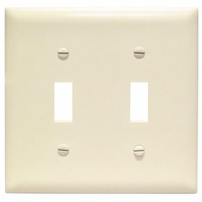 Pass & Seymour Inc TP2LA Pass & Seymour TP2-LA TradeMaster® 2-Gang Standard-Size Toggle Switch Wallplate; Wall Mount, Thermoplastic Nylon, Light Almond