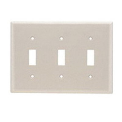 Pass & Seymour Inc TP3LA Pass & Seymour TP3-LA TradeMaster® 3-Gang Standard-Size Toggle Switch Wallplate; Wall Mount, Thermoplastic, Light Almond