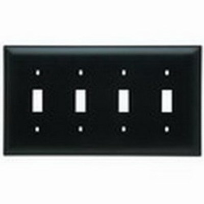 Pass & Seymour Inc TP4BK Pass & Seymour TP4-BK TradeMaster® 4-Gang Standard-Size Toggle Switch Wallplate; Wall Mount, Thermoplastic, Black