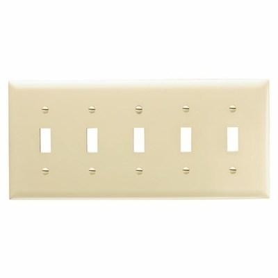 Pass & Seymour Inc TP5I Pass & Seymour TP5-I TradeMaster® 5-Gang Standard-Size Toggle Switch Wallplate; Wall Mount, Thermoplastic, Ivory