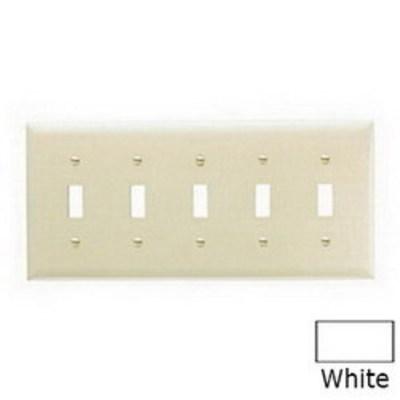 Pass & Seymour Inc TP5W Pass & Seymour TP5-W TradeMaster® 5-Gang Standard-Size Toggle Switch Wallplate; Wall Mount, Thermoplastic, White
