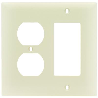 Pass & Seymour Inc TP826LA Pass & Seymour TP826-LA Trademaster® 2-Gang Standard-Size Combination Wallplate; Wall Mount, Thermoplastic Nylon, Light Almond