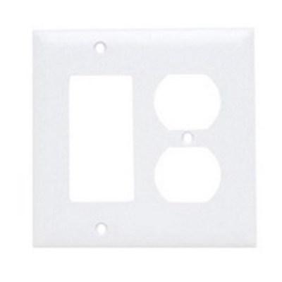 Pass & Seymour Inc TP826W Pass & Seymour TP826-W Trademaster® 2-Gang Standard-Size Combination Wallplate; Wall Mount, Thermoplastic Nylon, White