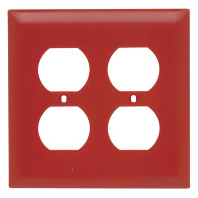 Pass & Seymour Inc TP82RED Pass & Seymour TP82-RED TradeMaster® 2-Gang Standard-Size Duplex Receptacle Wallplate; Wall Mount, Nylon, Red