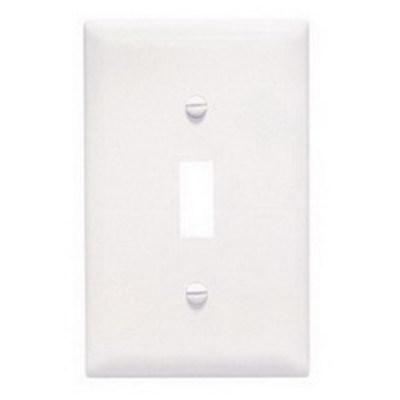 Pass & Seymour Inc TPJ1W Pass & Seymour TPJ1-W TradeMaster® 1-Gang Jumbo-Size Toggle Switch Wallplate; Wall Mount, Thermoplastic, White
