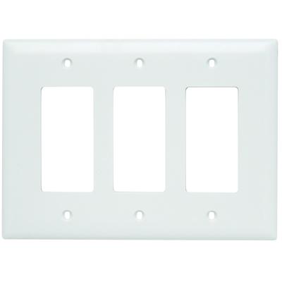 Pass & Seymour Inc TPJ263W Pass & Seymour TPJ263-W TradeMaster® 3-Gang Jumbo-Size Decorator Wallplate; Wall Mount, Nylon, White