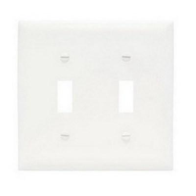 Pass & Seymour Inc TPJ2W Pass & Seymour TPJ2-W TradeMaster® 2-Gang Jumbo-Size Toggle Switch Wallplate; Wall Mount, Thermoplastic, White