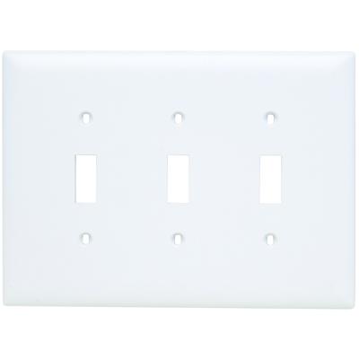 Pass & Seymour Inc TPJ3W Pass & Seymour TPJ3-W TradeMaster® 3-Gang Jumbo-Size Toggle Switch Wallplate; Wall Mount, Thermoplastic, White