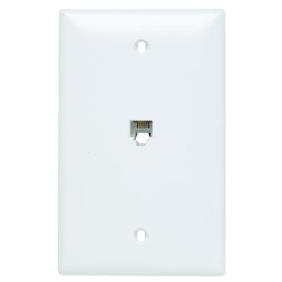 Pass & Seymour Inc TPTE1W On-Q TPTE1-W Standard Size 1-Gang Communication Wallplate; Flush Mount, Thermoplastic, White